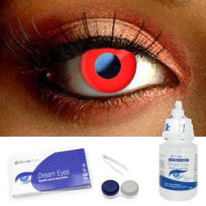 Red Colored Contact Lens Complete Set